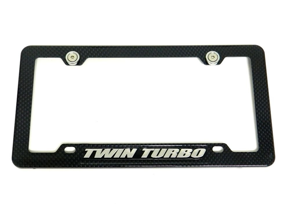 TWIN TURBO CARBON FIBER LOOK LICENSE PLATE FRAME W/ 2 GUNMETAL WASHERS & BOLTS