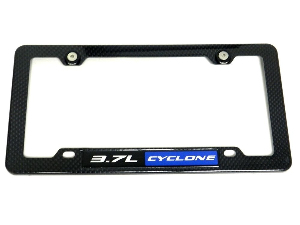 3.7L CYCLONE CARBON FIBER LOOK LICENSE PLATE FRAME W/ 2 BLACK WASHERS & BOLTS BL