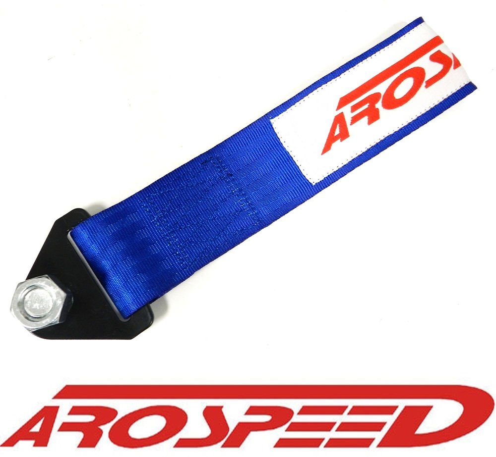 AROSPEED UNIVERSAL BLUE HIGH STRENGTH RACING TOW STRAP KIT FRONT/REAR