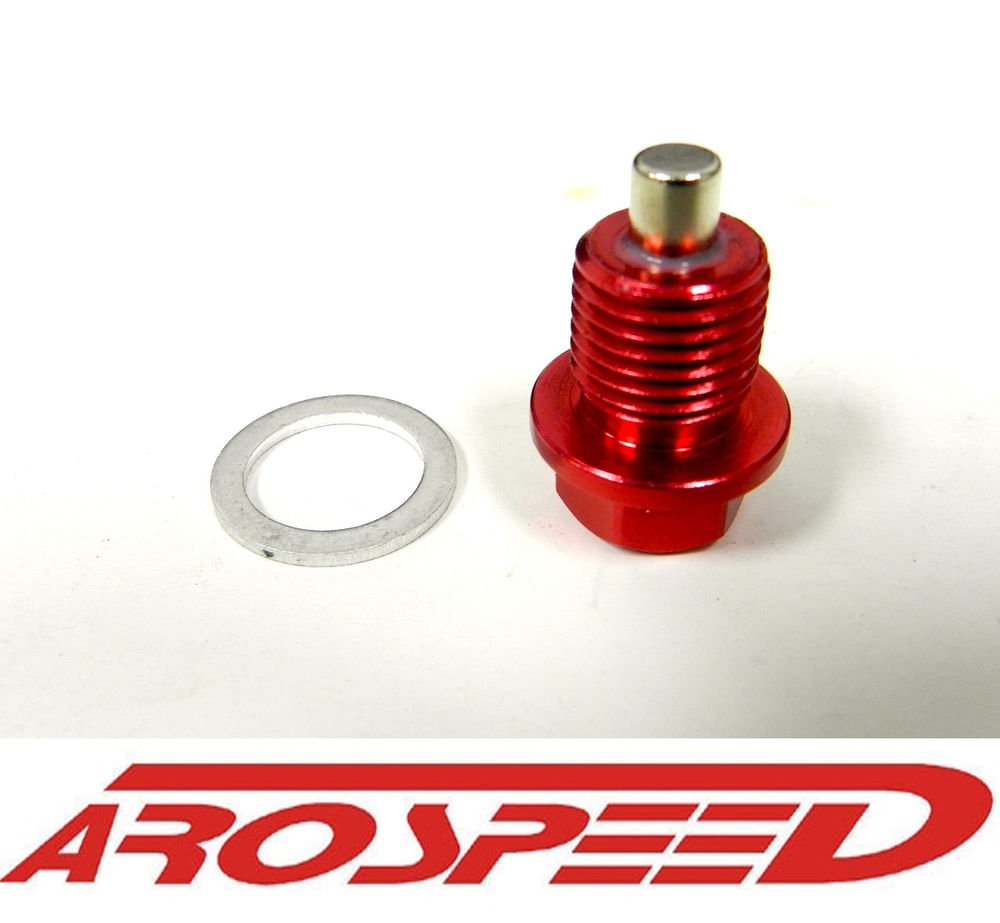 AROSPEED 14X1.25MM RACING MAGNETIC OIL DRAIN PLUG BOLT W/ CRUSH WASHER RED
