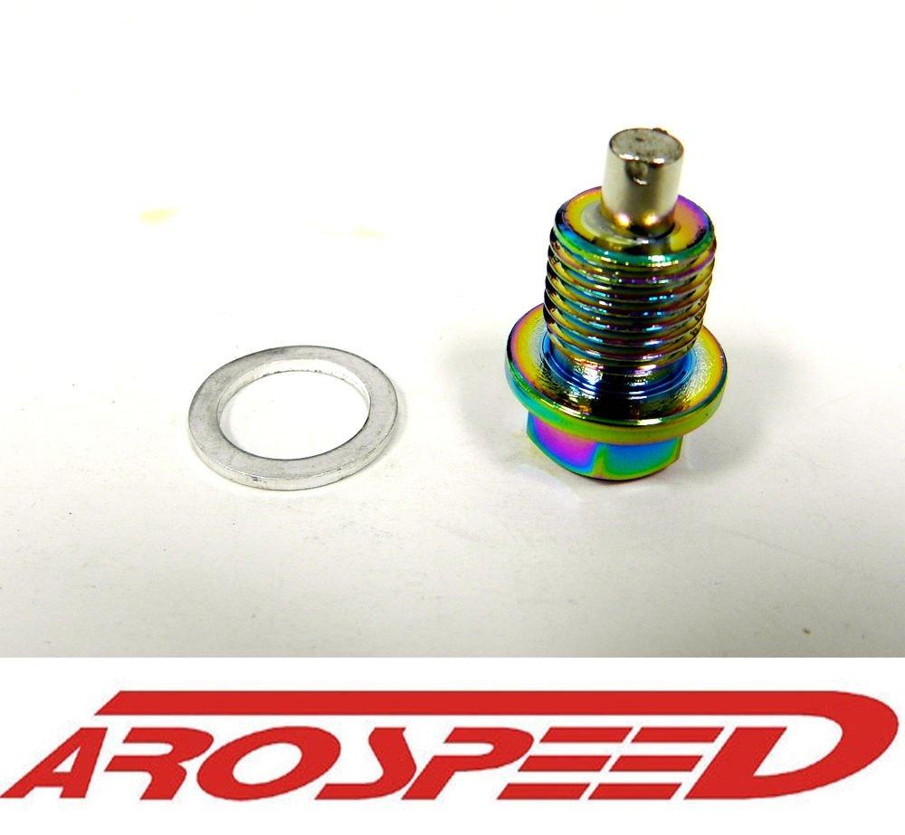 AROSPEED 20X1.5MM RACING MAGNETIC OIL DRAIN PLUG BOLT W/ CRUSH WASHER NEO CHROME