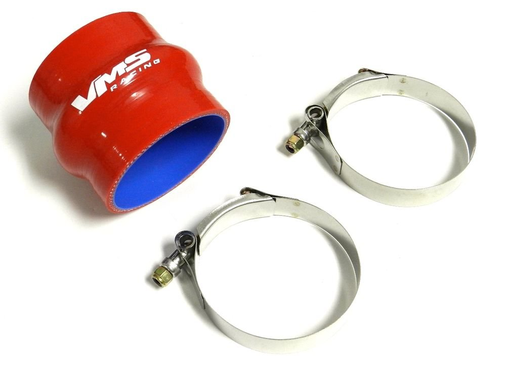 "VMS RACING 3.5"" RED STRAIGHT SILICONE HUMP COUPLER & 2 T-BOLT CLAMPS"