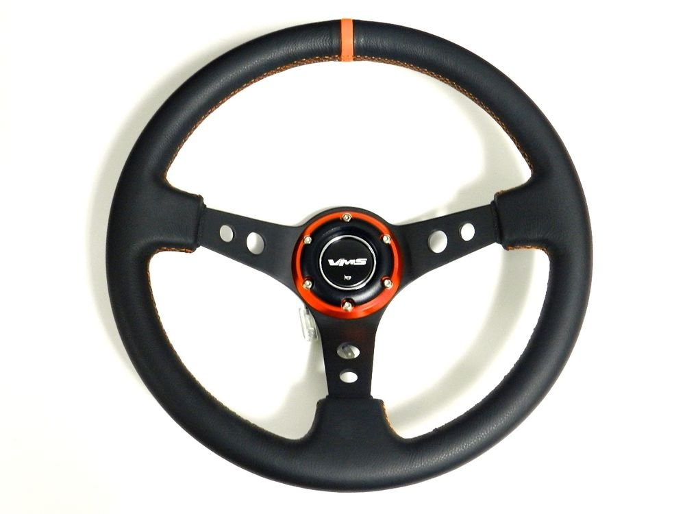 VMS RACING UNIVERSAL 6-BOLT 350MM LEATHER ORANGE DEEP DISH STEERING WHEEL B