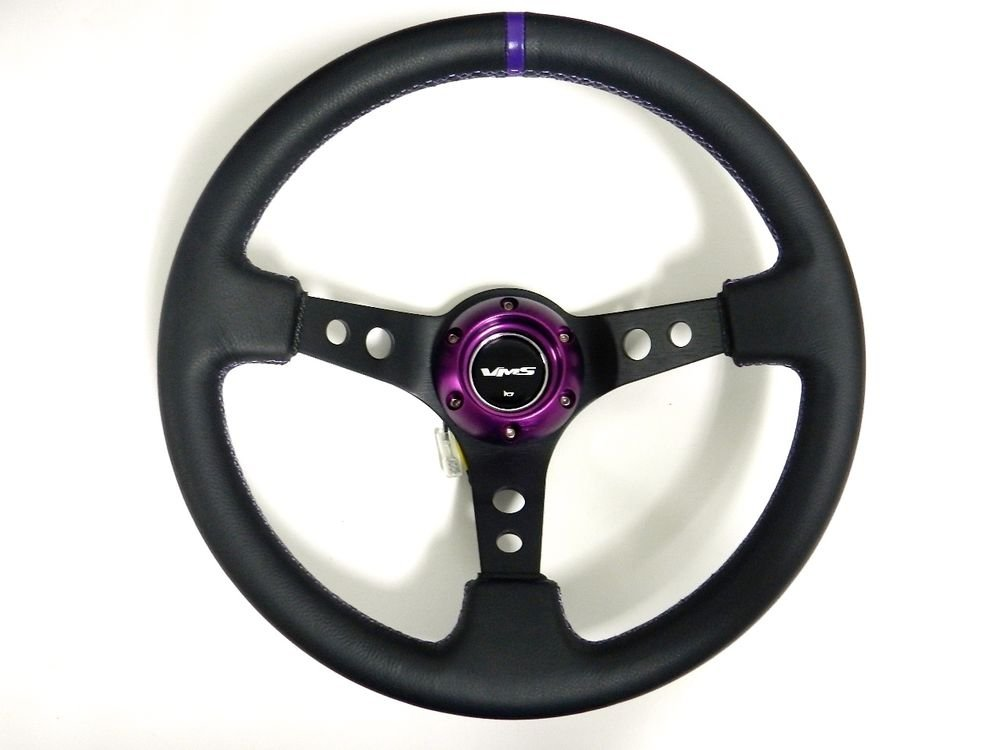 VMS RACING UNIVERSAL 6-BOLT 350MM LEATHER PURPLE DEEP DISH STEERING WHEEL D2