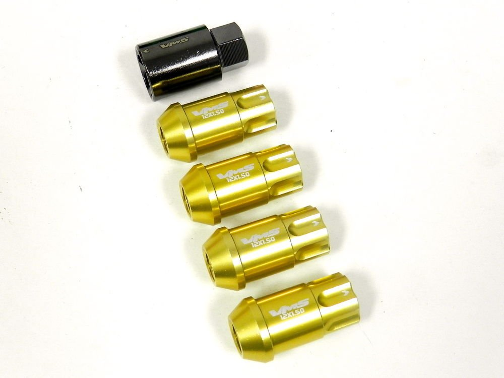 4PC VMS RACING SUBARU 12X1.25MM ALUMINUM LOCKING LUG NUT SET GOLD
