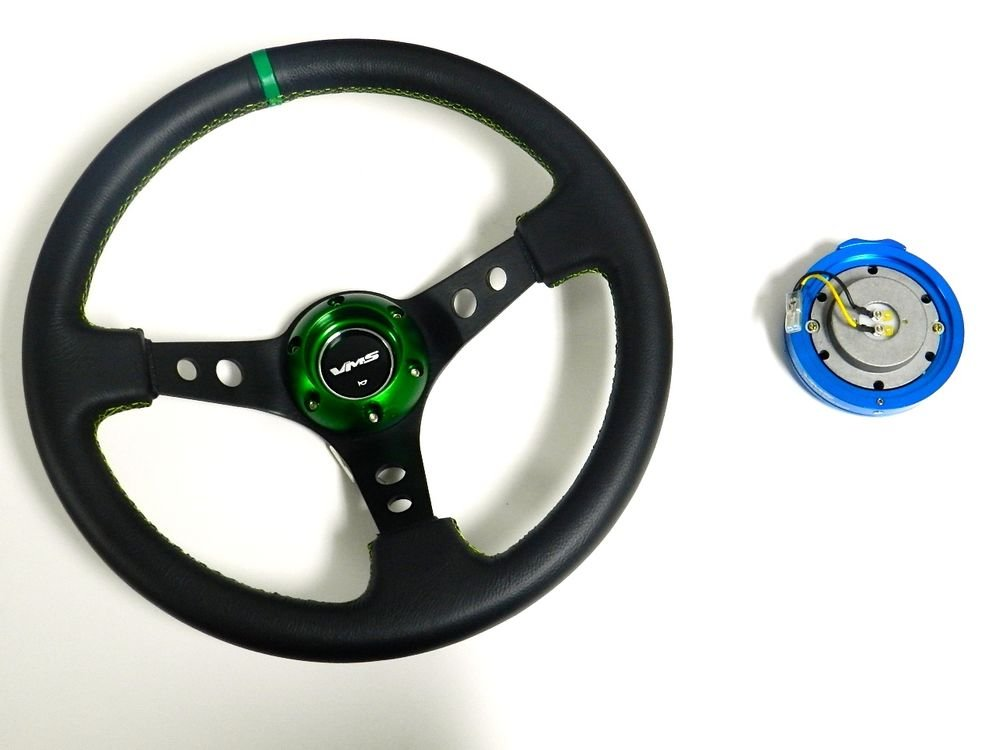 VMS RACING UNIVERSAL 6-BOLT GREEN STEERING WHEEL & BLUE QUICK RELEASE KIT C2