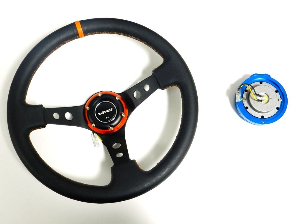 VMS RACING UNIVERSAL 6-BOLT ORANGE STEERING WHEEL & BLUE QUICK RELEASE KIT D