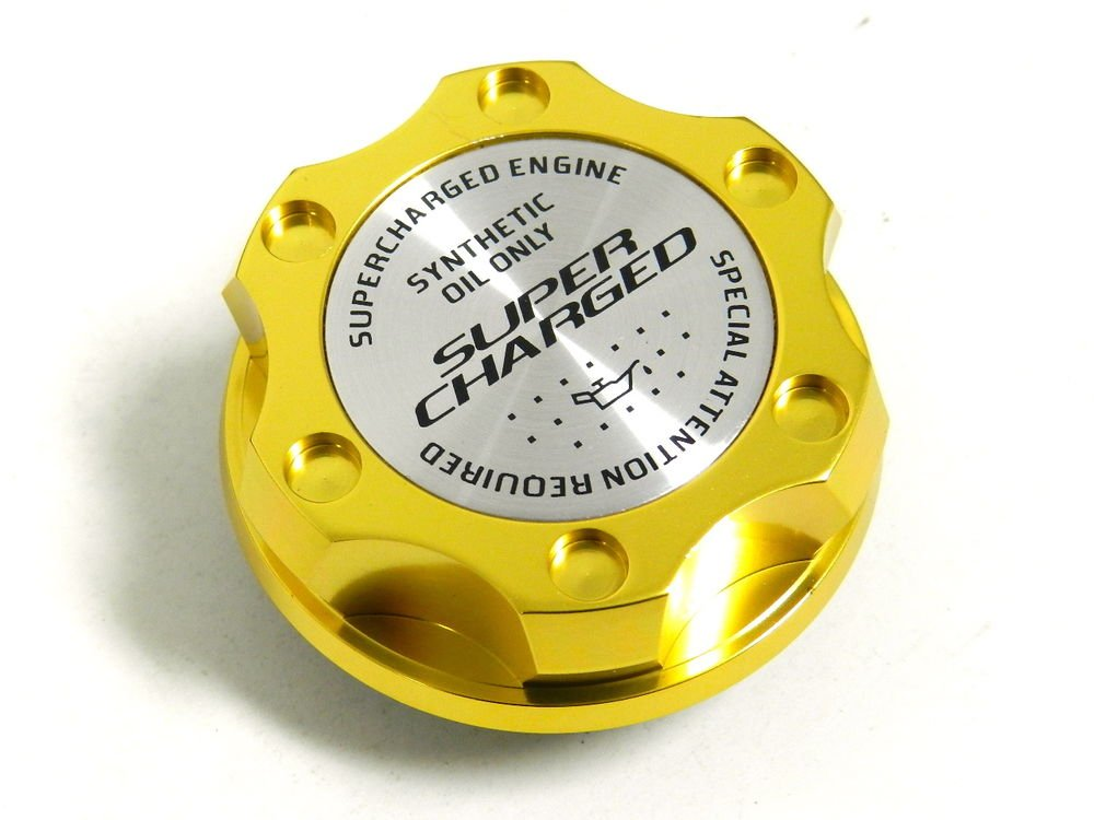 GOLD SUPERCHARGED BILLET CNC RACING ENGINE OIL FILLER CAP FOR HONDA ACURA
