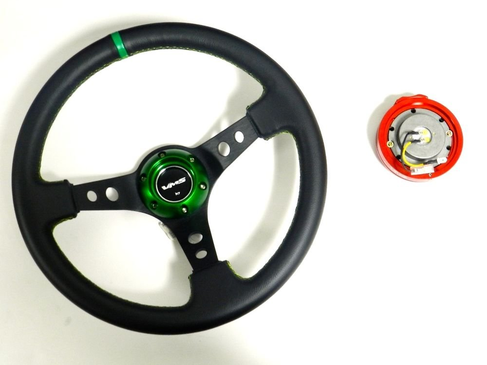 VMS RACING UNIVERSAL GREEN STEERING WHEEL & RED QUICK RELEASE KIT D2