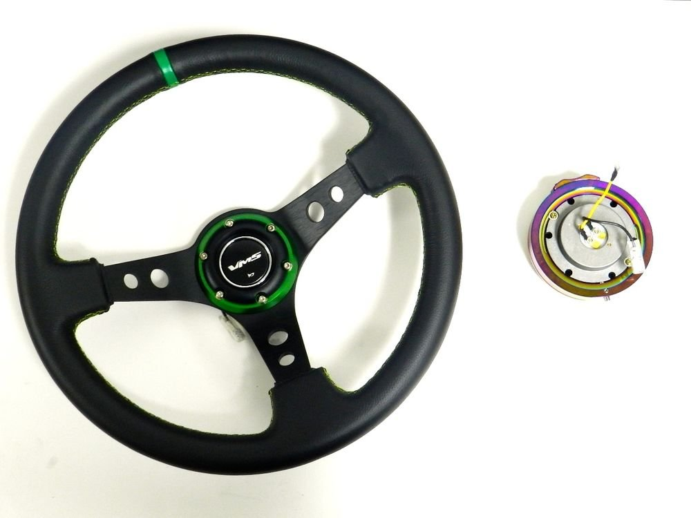VMS RACING UNIVERSAL GREEN STEERING WHEEL & NEO CHROME QUICK RELEASE KIT B