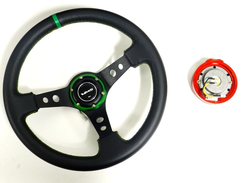 VMS RACING UNIVERSAL GREEN STEERING WHEEL & RED QUICK RELEASE KIT E