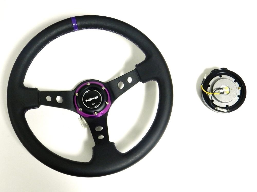 VMS RACING UNIVERSAL 6-BOLT PURPLE STEERING WHEEL & BLACK QUICK RELEASE KIT E