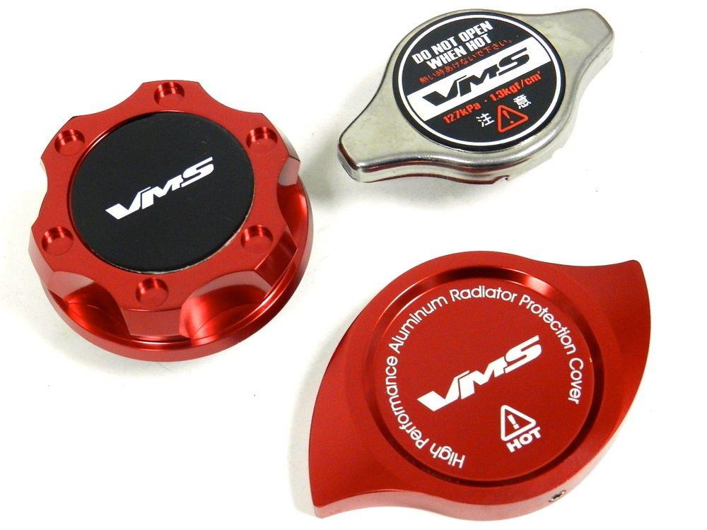 VMS RACING OIL CAP + RADIATOR CAP + BILLET COVER RED MITSUBISHI B