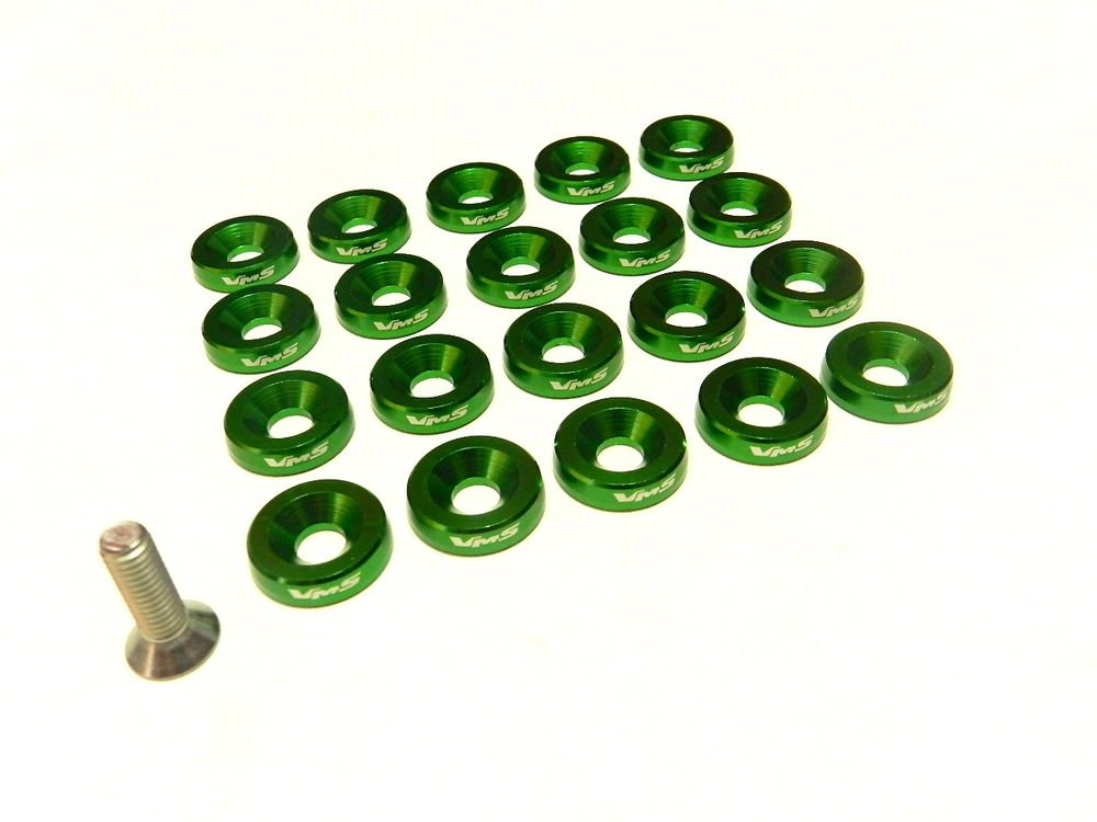 20PC VMS RACING FENDER WASHER * BOLT & WASHER KIT * - GREEN