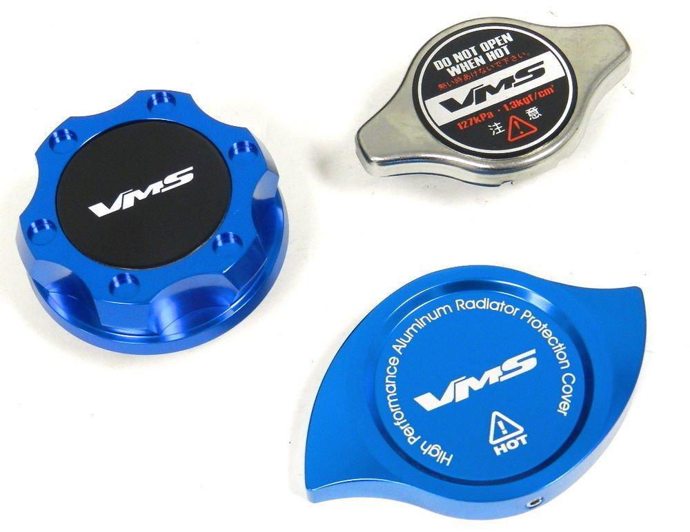 VMS RACING OIL CAP + RADIATOR CAP + BILLET COVER BLUE MITSUBISHI B