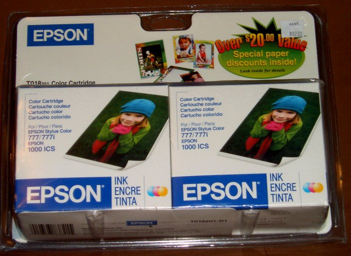 Genuine Epson T018201 Color Ink Printer Cartridge - PACK of 2 NEW