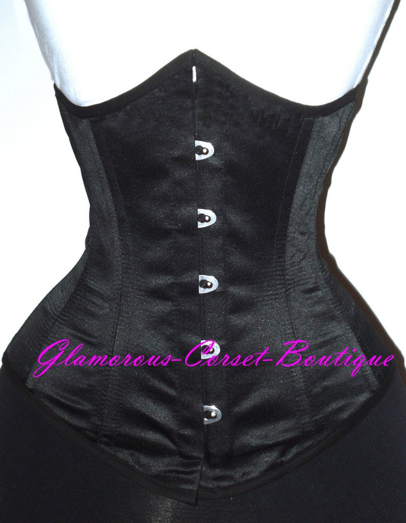 Waist Training Corset Underbust Black Cincher 26 Steel Bones Double Boned 2XL