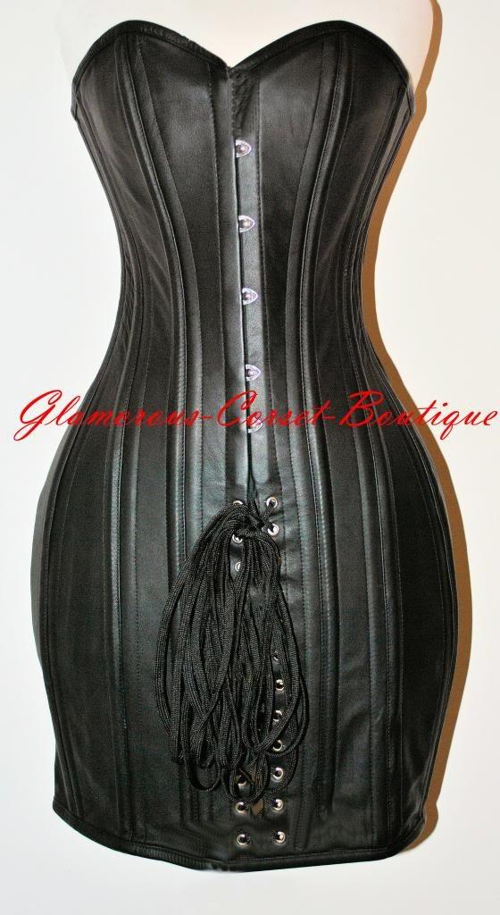Leather Corset Dress 26 Steel Bones Double Boned Waist Training DOM XXS-4XL