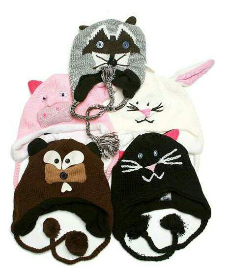 animal knit hats adults & kids OS
