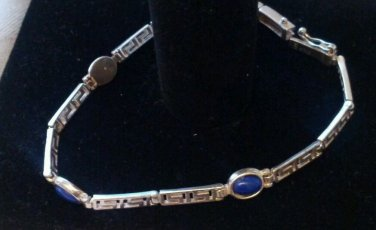 Sterling silver bracelet with blue stones