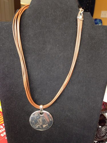 Monet Brown Cord Choker With Silvertone Pendant