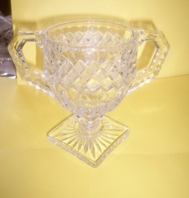 Vintage Diamond Pedestal Sugar or Cream Bowl