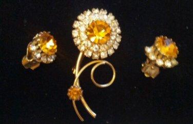 Vintage flower rhinestone brooch set