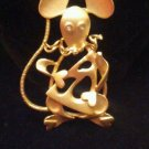 Mouse rat eating cheese brooch