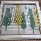 3D wooden wall picture for decoration (53*53cm) - yellow, white, green trees