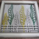 3D wooden wall picture for decoration (53*53cm) - yellow, white, green leaves