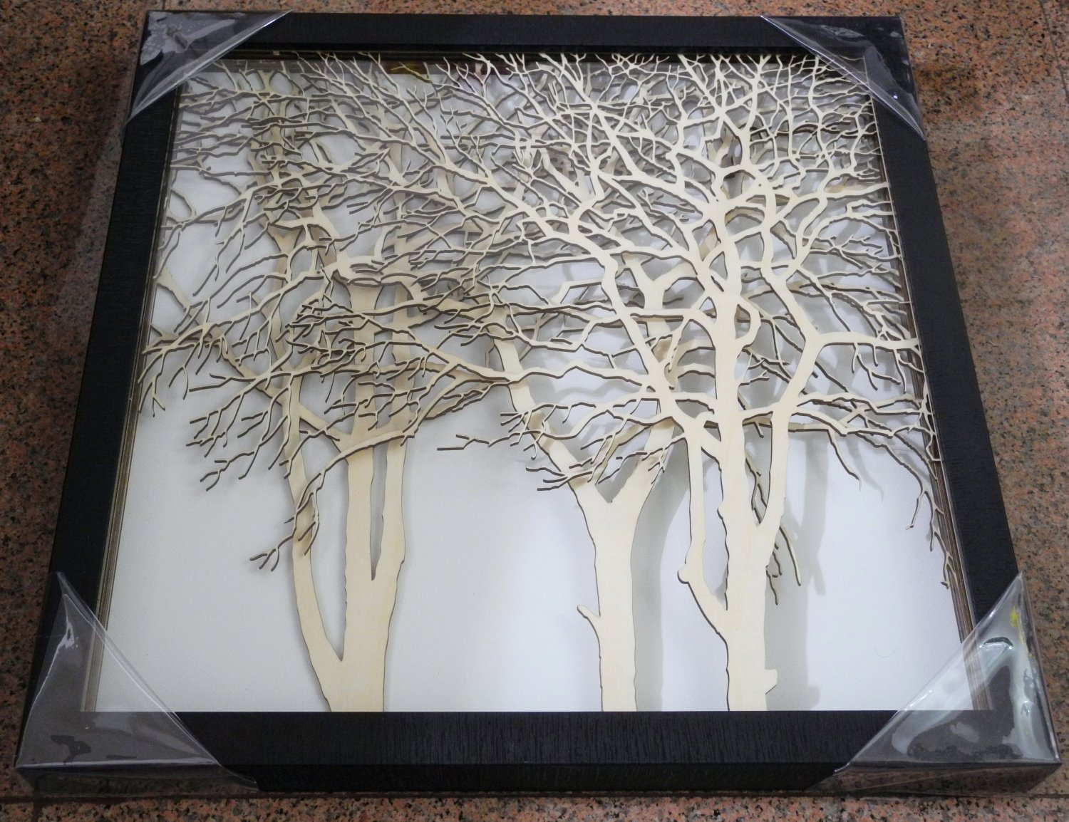 3D wooden wall picture for decoration (48*48cm) - forest C