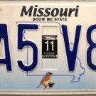 2011 Missouri License Plate (DA5 V8C)