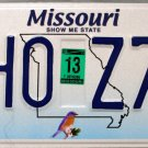 2013 Missouri License Plate (SHO Z7S)