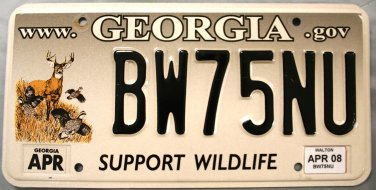 2008 Georgia Support Wildlife License Plate (BW75NU)