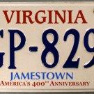 2010 Virginia Jamestown America's 400th License Plate (KGP-8290)
