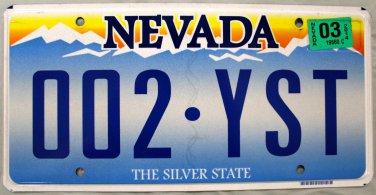 2014 Nevada License Plate (002 YST)