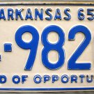 1965 Arkansas License Plate (4-9820)