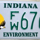 2007 Indiana Environment License Plate (FW 6765)