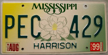 1999 Mississippi License Plate (PEC 429)