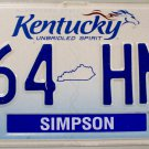2014 Kentucky License Plate (264 HMP)
