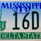 1997 Mississippi: Delta State University License Plate (16D11)