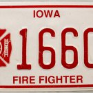 1994 Iowa Fire Fighter License Plate (1660F)