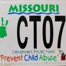 2001 Missouri Prevent Child Abuse License Plate (CTO738)