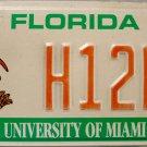 2002 Florida: University of Miami License Plate (H12HA)