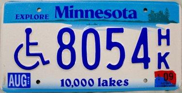 2009 Minnesota Disabled Wheelchair License Plate (8054 HK)