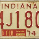 1974 Indiana License Plate (94J1800)
