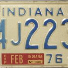 1976 Indiana License Plate (94J2239)