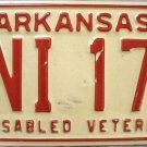 1978 Arkansas Disabled Veteran license Plate (FNI 177)