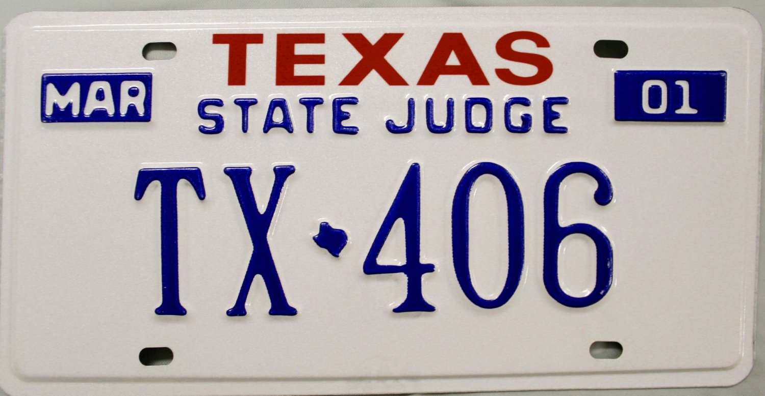 2001 texas state judge license plate tx 406 for Arkansas game and fish license