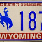 1977 Wyoming Spirit Of 76 License Plate (3 187G)